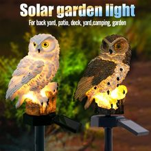 2 PCS Outdoor Garden Sculptures Lamp Owl Shape for Garden Decoration Waterproof Bird Resin Yard Garden Decor Sculptures Z0622(China)