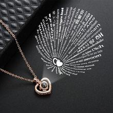 Zircon coração 100 idiomas eu te amo colares para mulheres amante rosa ouro prata cor corrente feminino pingente colar jóias