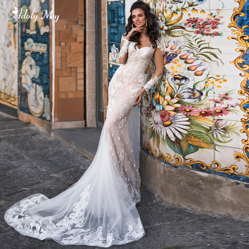 Adoly Mey Luxury Scoop Neck Beaded Long Sleeve Mermaid Wedding Dresses 2020 Glamorous Appliques Brush Train Trumpet Bride Gown