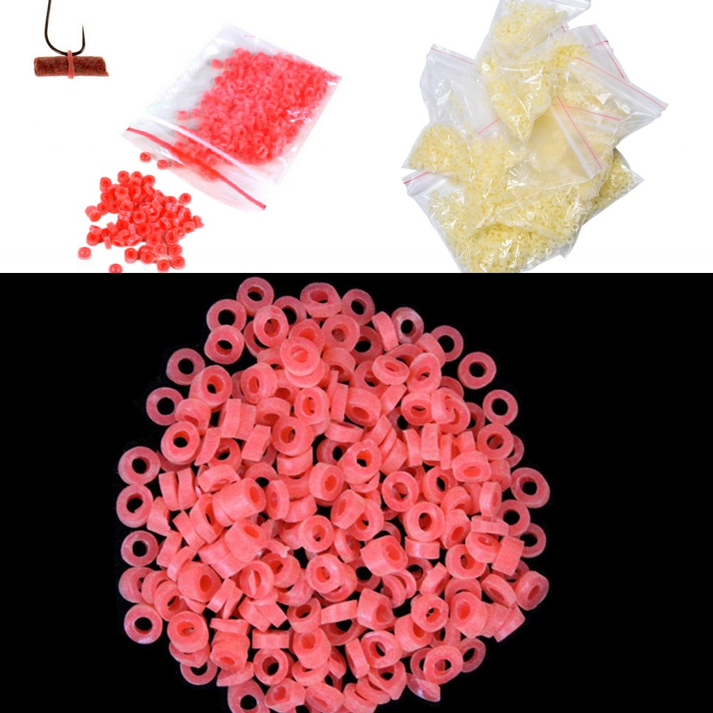 2500PCS/10bags Red/Yellow Bloodworm Bait Granulator Bait Fishing Accessories Fish Tackle Rubber Bands For Fishing