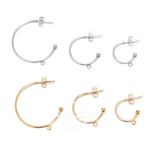 10pcs Gold Plated 15mm 20mm 30mm Earring Posts with loop C Shape Ear Studs Earrings Accessories DIY Jewelry Making