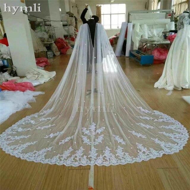 400 سنتيمتر طويل * 280 سنتيمتر واسعة الزفاف كيب الحجاب كاتدرائية الحجاب الدانتيل فستان الزفاف عباءة ملحق في الأبيض ، أوف وايت ، العاج # ZM001KD