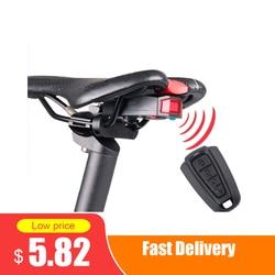 1 conjunto de luz de alarme de bicicleta ciclismo lanterna traseira chifre anti-roubo controle remoto portátil sem fio elétrico ciclismo sino controlador