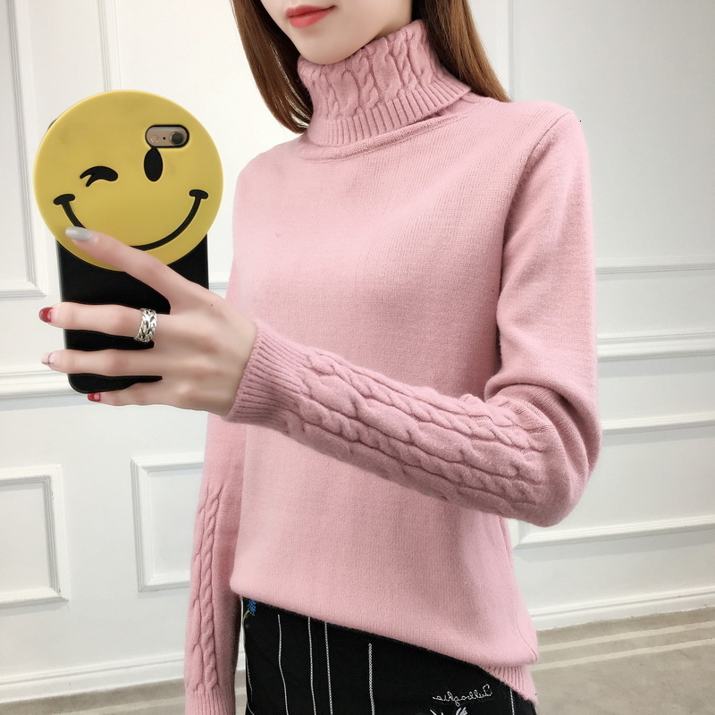 Women Used Trui 2019 Herfst And Winter New Half Coltrui Women Turn -down Collar Casual Sweaters Top