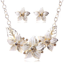 Fashion Flower White Color Jewelry Set African Beads Vintage Women Wedding Statement Big Necklace Bracelet Earrings Ring(China)