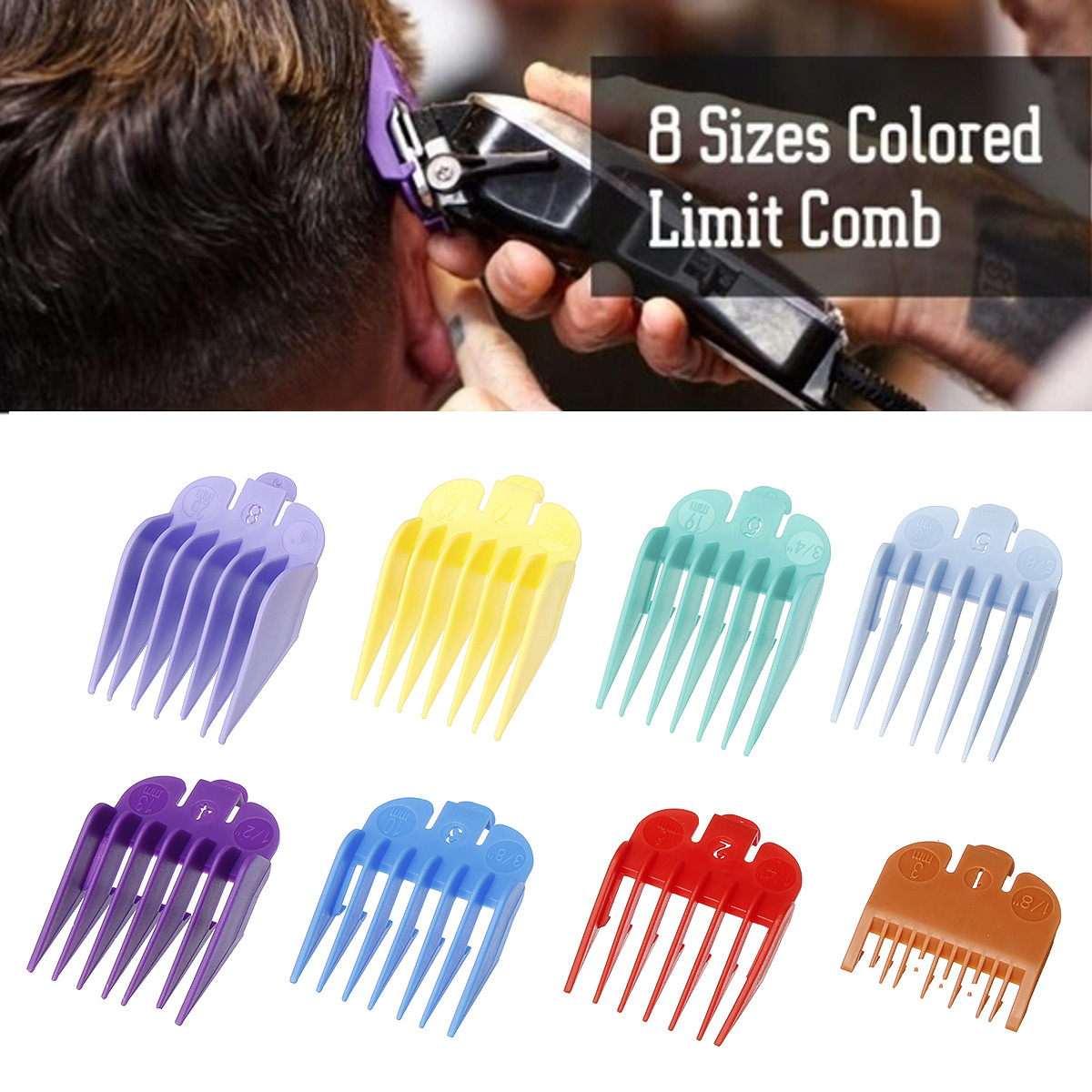 8Pcs Hair Clipper Cutting Attachment Comb Guide Limit Combs Set Replacement Tools For WAHL Machine Universal Hair Clipper Limit