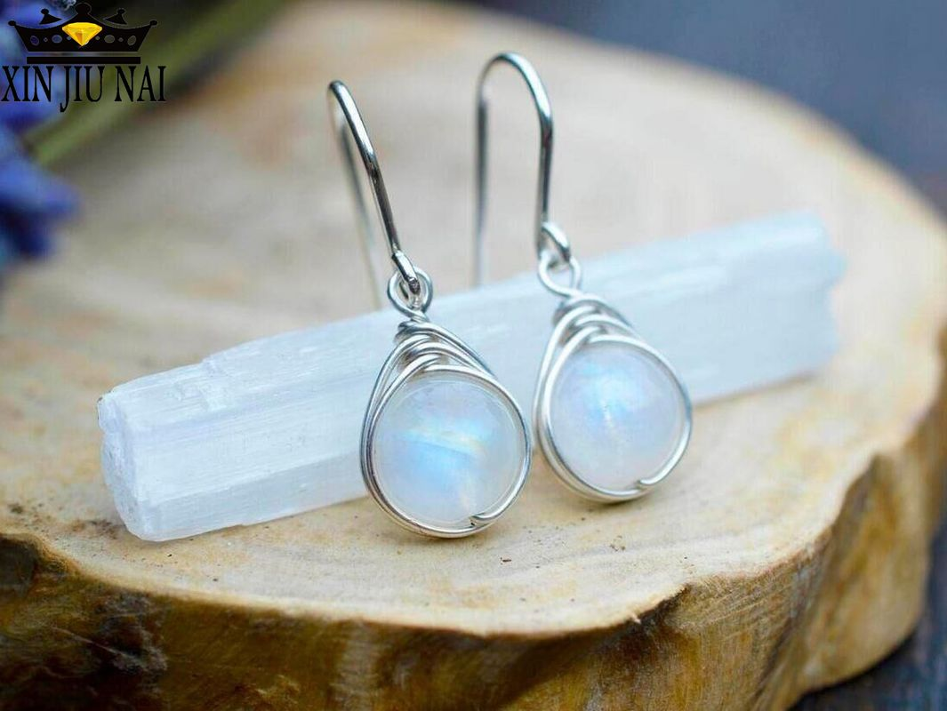 925 Anillos Silver Fashion Round Moonstone Silver Earrings For Women Long Earrings Luxury Colorful Gems Earings Fashion Jewelry