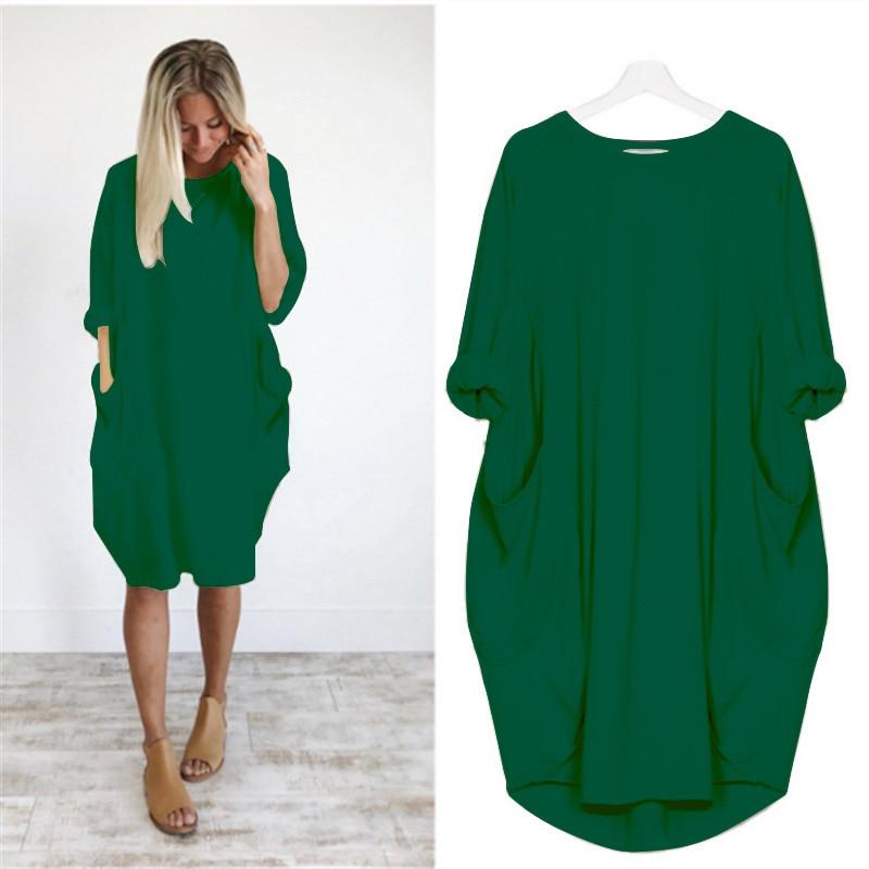 KAMUCC Women Casual Loose Dress with Pocket Ladies Fashion O Neck Long Tops Female Noble Dress Streetwear Plus Size 5XL Vestidos