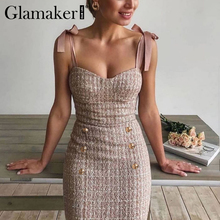 Glamaker Tweed grid pink holiday party mini dress Backless sexy buttons bodycon
