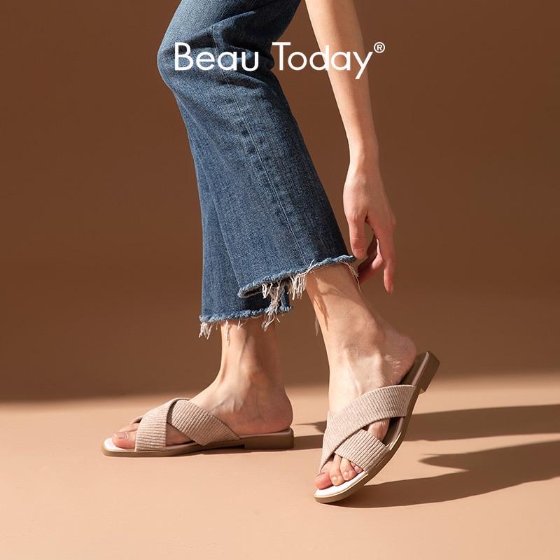 Женские вельветовые шлепанцы BeauToday, летние повседневные шлепанцы на плоской подошве с квадратным носком и перекрестной шнуровкой, ручная работа, 36139|Тапочки|   | АлиЭкспресс