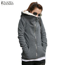 Zanzea Vrouwen Winter Fleece Jassen Hooded Sweatshirts 2020 Herfst Casual Losse Rits Hoodies Tops Jassen Uitloper Plus Size S-4XL(China)