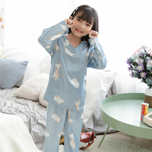 Silk pajamas for girls autumn Thin Pajama Suit Children satin long-sleeved Home Wear young girl Sleepwear Kids V-Neck Loungewear pajama sets frutto rosso for girls tk117g044 sleepwear kids home suit children clothes