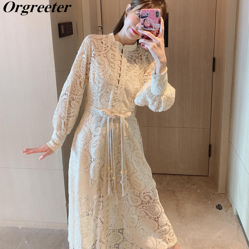 Braided Belt High Waist Woman's Long Lace Dress Hollow Out Embroidery Long-sleeve Apricot Vintage Dress Summer 2020 New