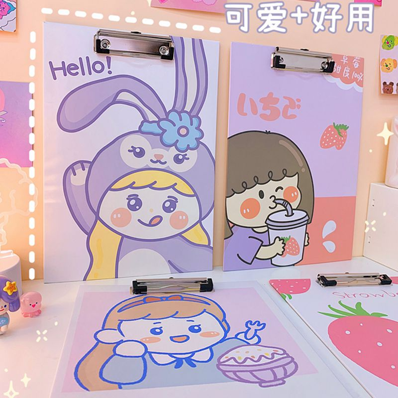 Korean Cartoon Large Writing Board A4 Board Folder Student Writing Pad Girl Cute Test Paper Folder Paper