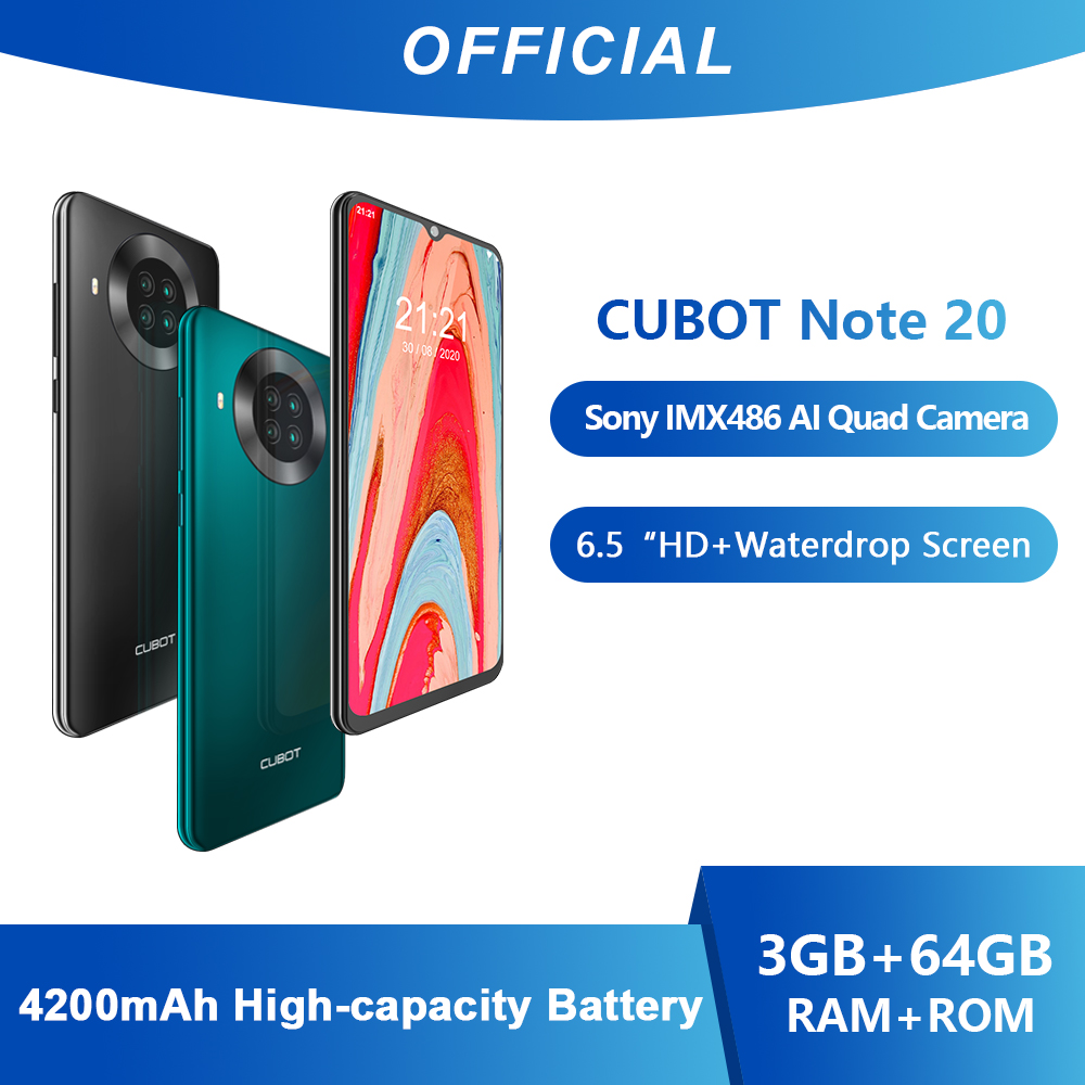 Cubot Note 20 Rear Quan Camera Smartphone NFC 6.5 Inch 4200mAh Google Android 10 Dual SIM Card Telephone 4G LTE 3GB+64GB Celular