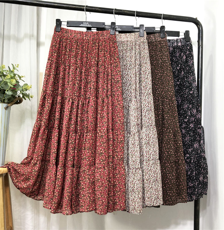 Spring Floral Printed Boho A-line Maxi Long Chiffon Skirts Chic Patchwork Flower Printing Ankle Long Drape Autumn Skirts