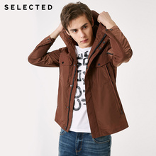 SELECTED Men's Autumn & Winter Long Outwear Pure Color Short Coat Hooded Jacket