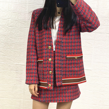 Women Coat 2019 Autumn /Winter New Woven Tweed Button Red Plaid V Neck Coat Red
