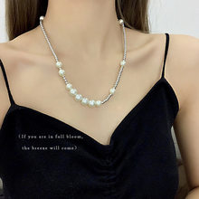 2021 Fashion Trend Hip Hop Lady Pearl Necklace Tide Brand Young Fashion Stitching Clavicle Necklace halloween