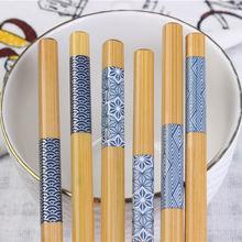 10 пар японских палочек для еды из натурального дерева синие