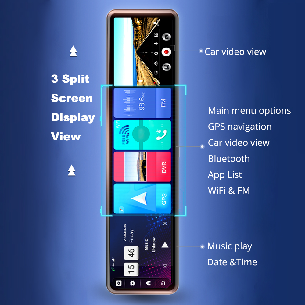"Phisung 3 Split Screen 12""4G Android 8.1 Car Rearview Mirror Camera 2+32G dual dvr ADAS WiFi BT 4.0 Dash Cam dvrs video recorder 2"