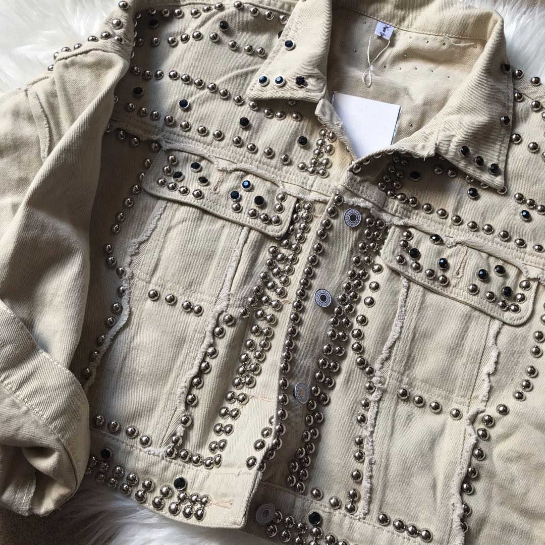 Musim Gugur Wanita Harajuku Rivet Jaket Mantel Pendek Hitam Jaket Jeans Siswa Mantel Dasar Pakaian Lengan Panjang Single-Breasted Suit