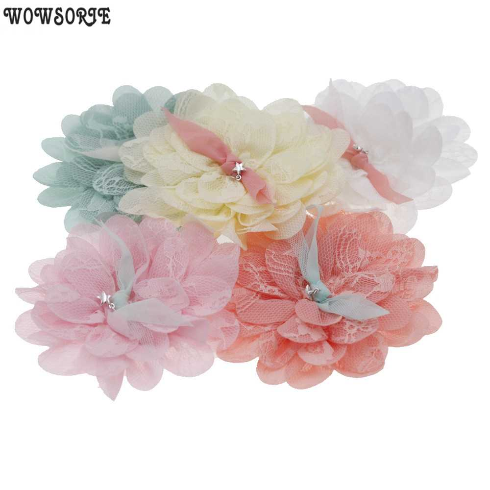 10cm תינוק קוריאה DIY פרח אבזר ללא סרט לא Cilps בנות בעבודת יד פרחי ילדי שיער אביזרי 5 יח'\חבילה