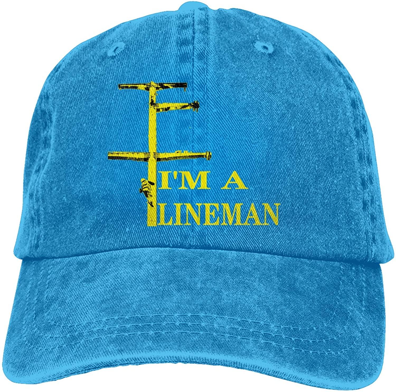 I'm A Lineman Sports Denim Cap Adjustable Unisex Plain Baseball Cowboy Snapback Hat