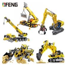 цена на Excavator Engineering Crane Building Blocks Educational City Technic Truck Construction Compatible Brick Toys For Children