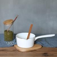 1.3L Japanischen Stil Weiß Keramik Milch Topf Küche Kochen Pan Topf Stewpan Baby Lebensmittel Topf mit Lange Griff für Eine menschen|Elektro Pfannen|Haushaltsgeräte -