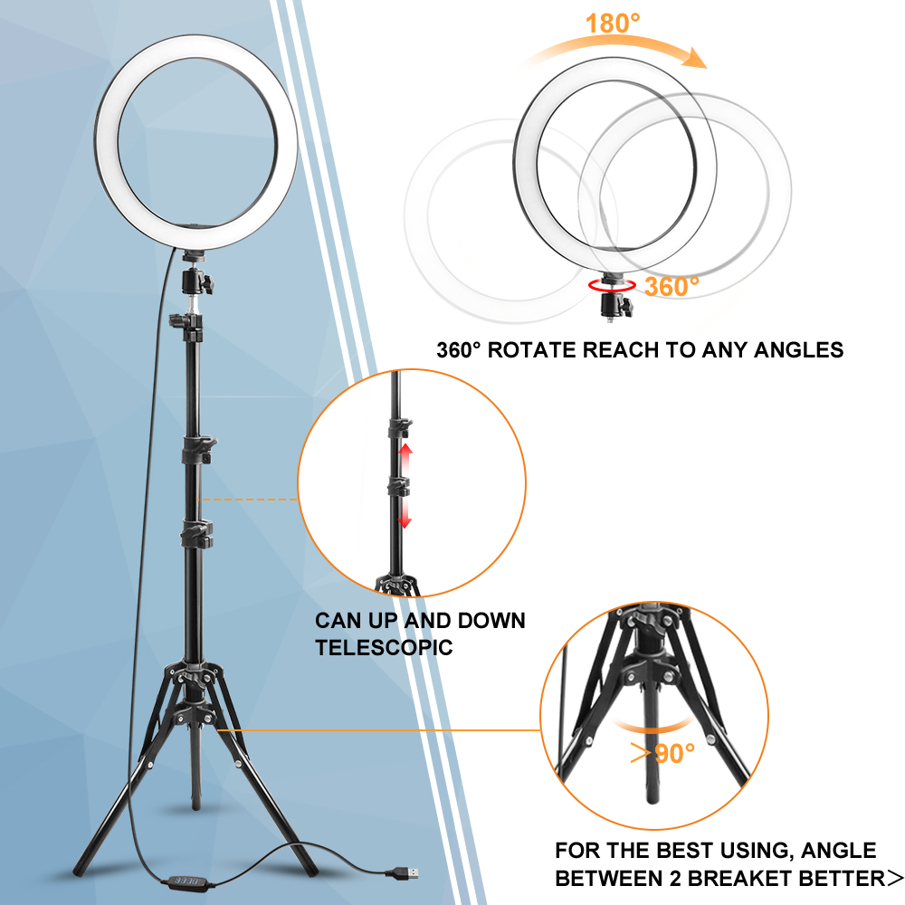 Rovtop 10 Inch Selfie Ring Light with Ring Stand for iPhone Tripod and Phone Holder for Video Photography 21