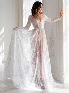 Oucui Wedding-Dress Mariage Sequin See-Through-Robe Boho Shining Bohemian Elegant White