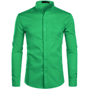Image 4 - Mens Banded Collar Pink Dress Shirt 2019 Brand New Long Sleeve Casual Button Down Chemise Work Casual Shirt with One Pocket 2XL