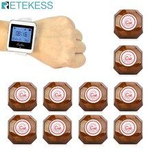 Sistema de llamadas inalámbrico Retekess reloj RECEPTOR + 10 botón de llamada buscapersonas restaurante equipo para comida rápida café Oficina F3288B