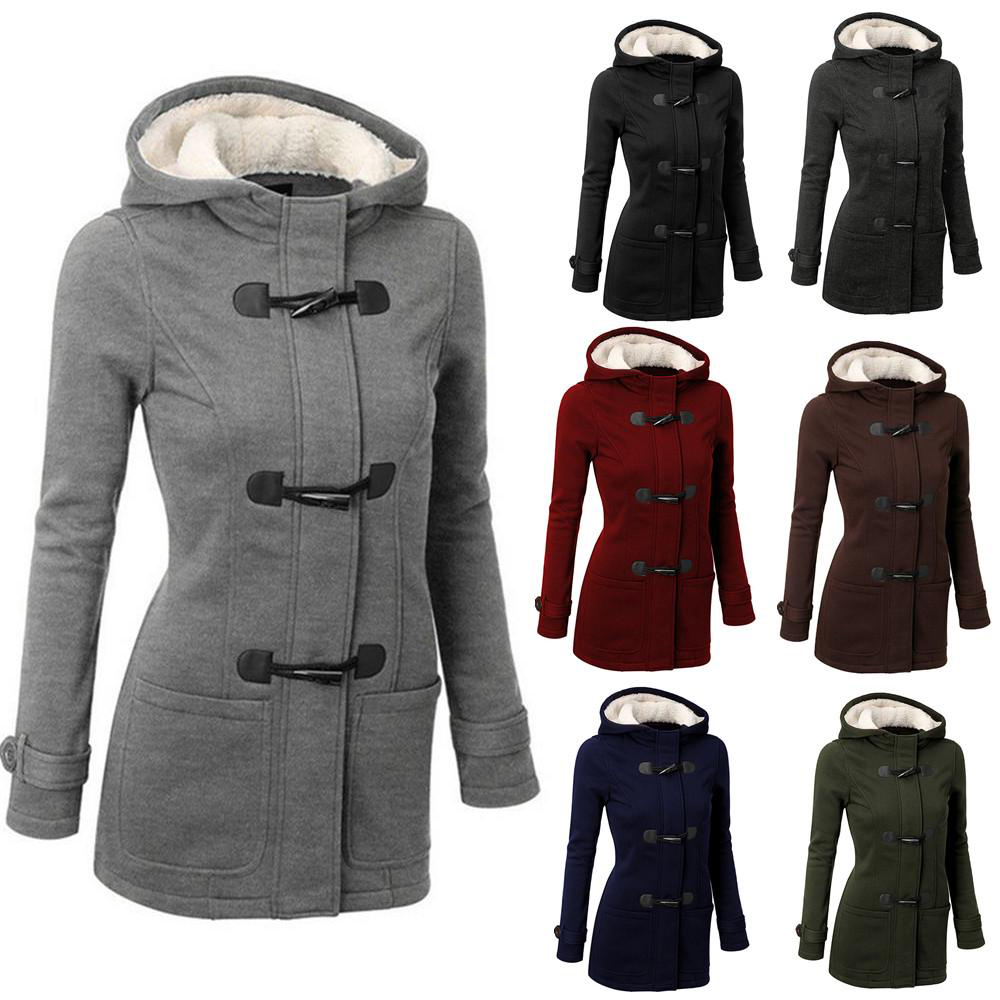 Women Cotton Overcoat 2019 Winter Casual Horn Button Hooded Blend Outwear Fashion Pocket Solid Buckles Female Coat Plus Size