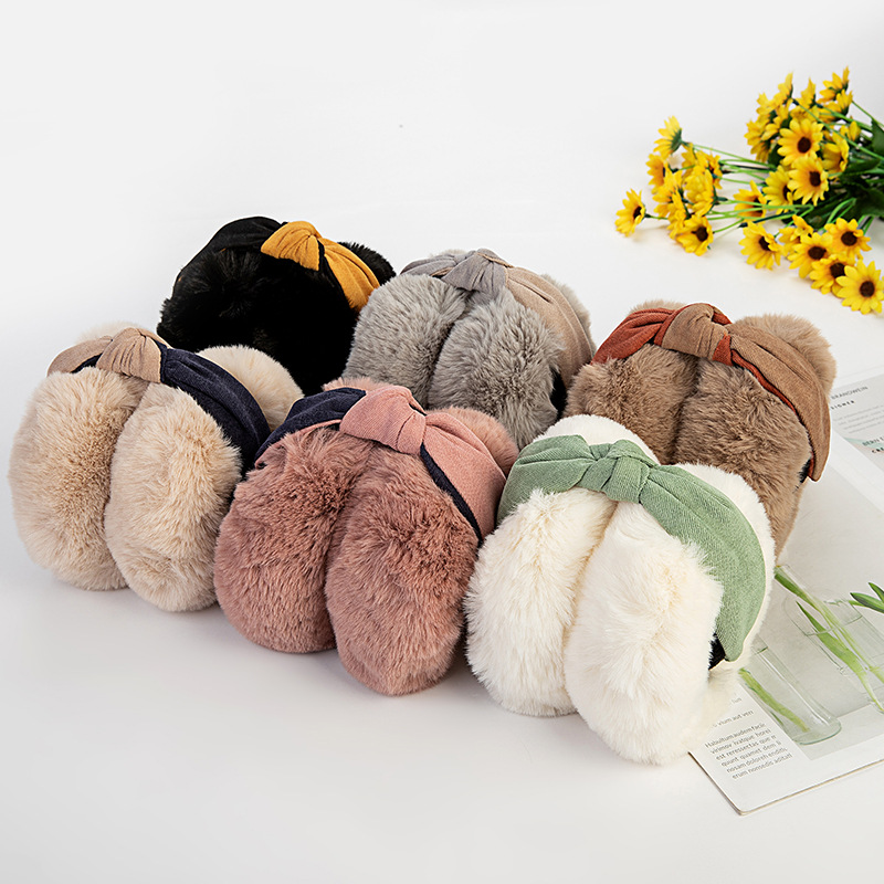 Imitation Rabbit Fur Earmuff Foldable Female Fashion Temperament Korean Style Winter Warm 2-color High Quality Hair Hoop Earmuff