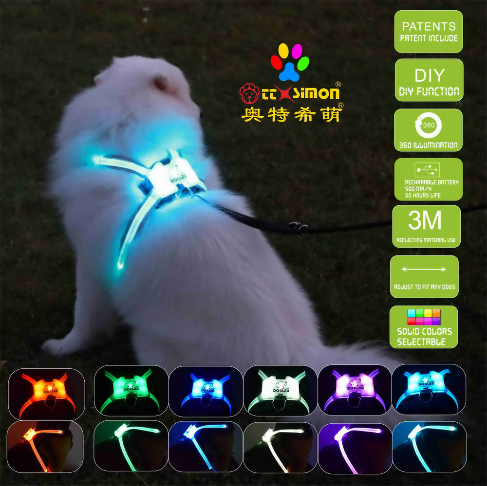 cc simon rechargeable led dog harness for Large Dog dog collar with led light  2021