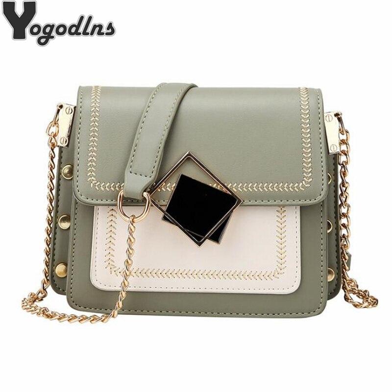 Chic Contrast Color Flap Messenger Bags For Women Magnetic Buckle Design Single Shoulder Bags Ladies Clutch Purse Trendy Rivet