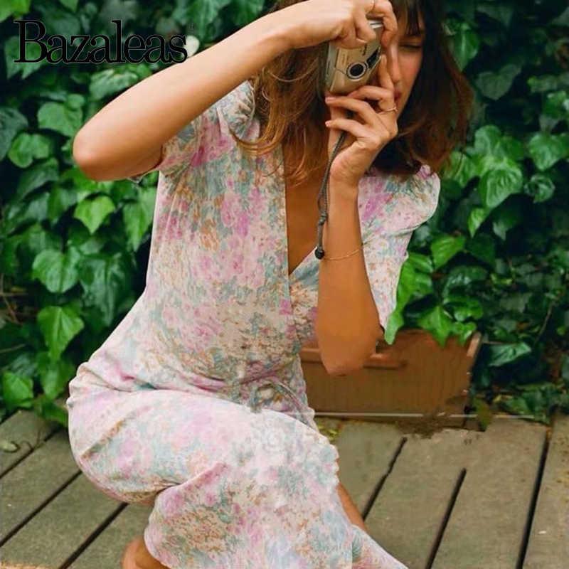 Bazaleas, vestido Vintage Gabin envolvente, vestido francés con estampado de flores de color azul marino, vestido de moda con cierre de lazo lateral, vestido midi informal para mujer