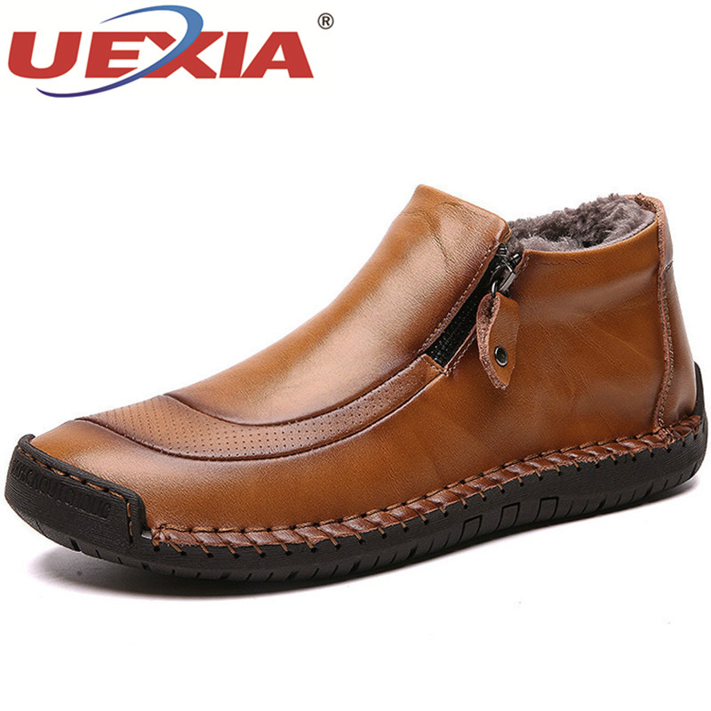 UEXIA New Handmade Fashion Men Boots High Quality Split Leather Ankle Snow Shoes Warm Fur Plush Winter Shoes Plus Size 38-48