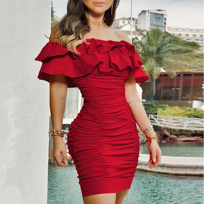 Ruffles Off Shoulder Sexy Dress Women Party Night Clubwear Bodycon Dresses Fashion Autumn Winter Red Dresses Ladies Vestidos|Dresses| - AliExpress