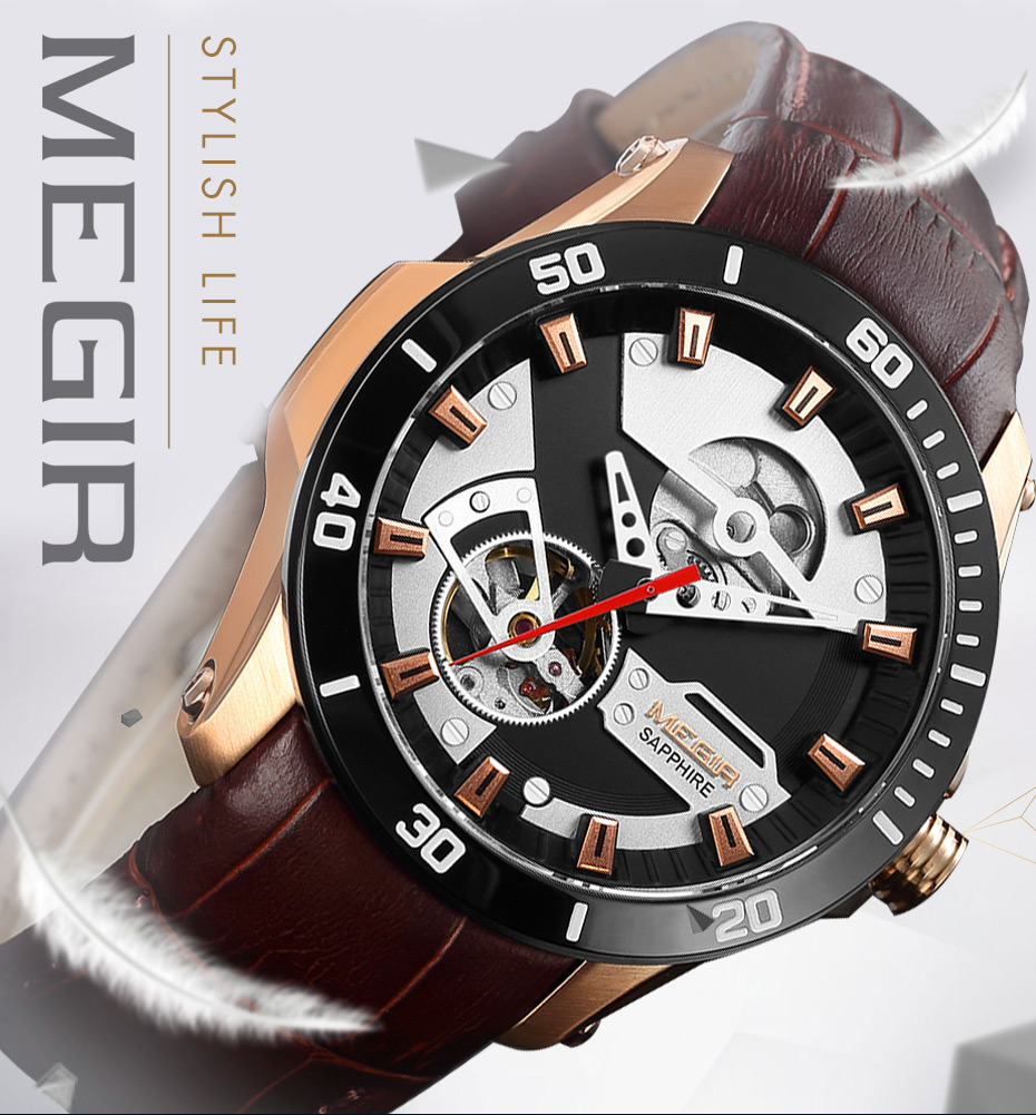 H1957dc4828dc4e6cb17f796d01cc37a0J MEGIR Men Mechanical Wristwatches Leather Strap Automatic Mechanical