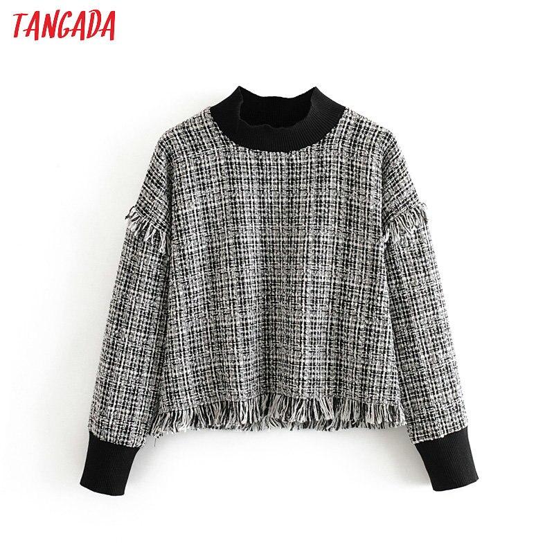 Tangada Women Plaid Vintage Turtleneck Sweatshirts Tassel Long Sleeve Ladies Loose Pullovers Casual Female Tops 3H368