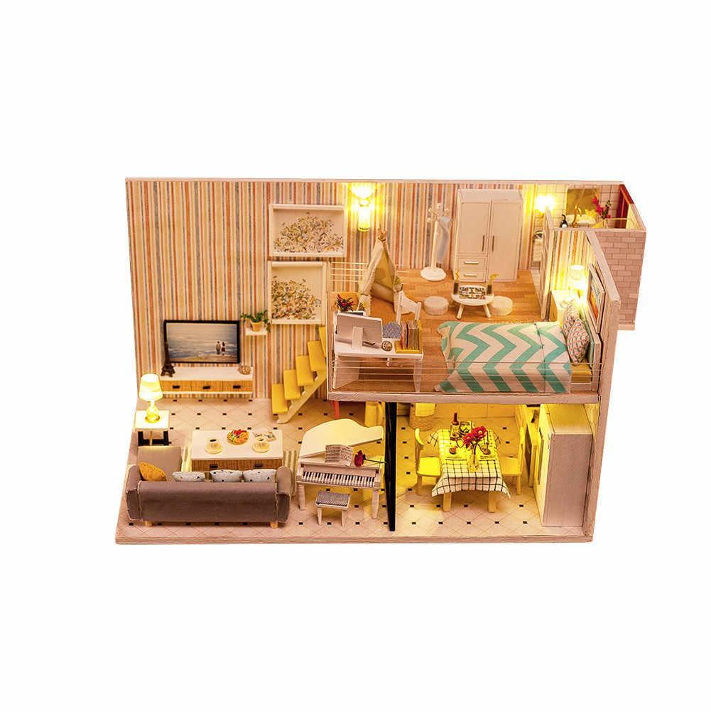 Diy Doll House Miniature Led Light Dollhouse Model Wooden Toy Miniatures Puzzle Box Home Decoration Doll Houses Toys Kids Gift