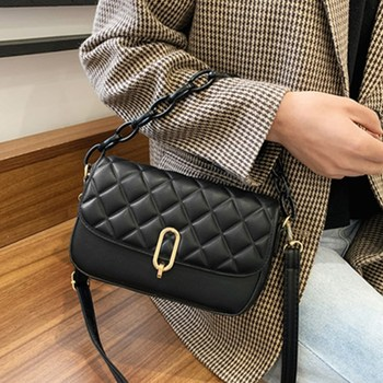 Diamond Lattice Chain Crossbody Bag Luxury Women Design Small Square Tote Bags Ladies Black Pu Leather Single Shoulder Handbag women quilted chain shoulder bag wide strap plaid messenger handbag female leather tote bags small diamond lattice crossbody bag