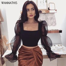 Wannathis Puff Sleeve Blouse Elegant Women Top Patchwork Mesh Sleeve Square Collar Sexy Crop Top Black Long Sleeve Ruffles Shirt