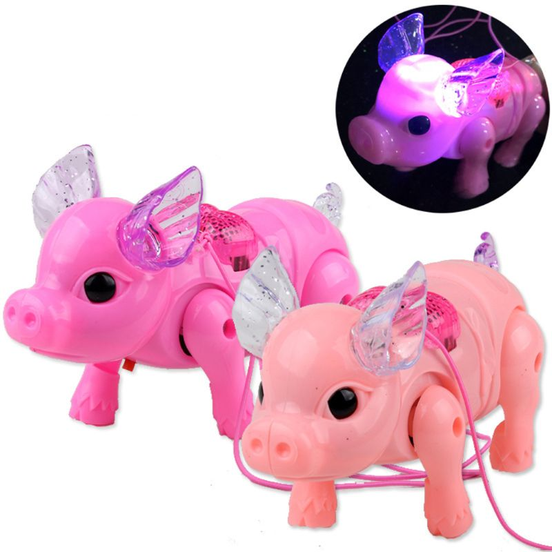 1PC Cute Dreamy Pig Pet With LED Light Walk Music Electronic Pets Robot Toys For Kids Boys Girls Flashing Gift Random Color
