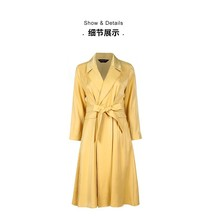 Womens windbreaker, lapel, professional dress, outer yellow lining, waist reduction, knee length, spring and autumn coat