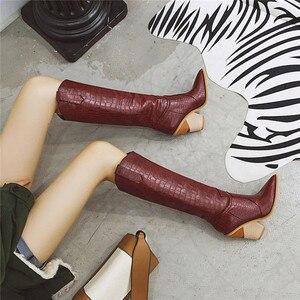Image 5 - FEDONAS Botas occidentales de piel sintética para mujer, zapatos hasta la rodilla, para Club nocturno, de tacón grueso, talla grande, para invierno