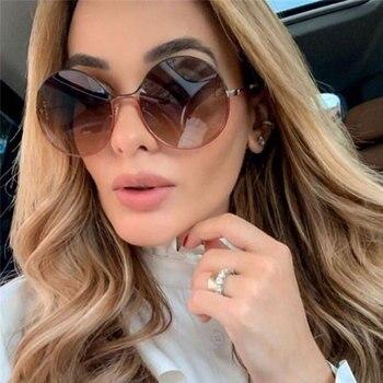 Fashion Round Women Sunglasses Brand Designer Alloy Vintage Sunglass Female Gradient Men Sun Glasses UV400 Eyewear Oculos De Sol men s sunglasses fashion oversized sunglasses men brand designer goggle sun glasses female style oculos de sol uv400 o2